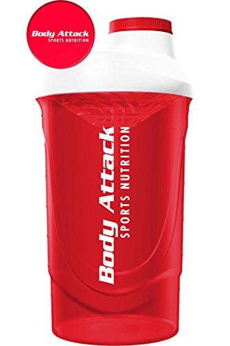Body Attack Protein Shaker, 600 ml Fassungsvermögen (Red-White)