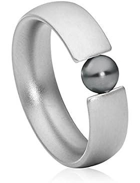 steel_art Damen-Ring globus glanzmatt swarovski perle grau 5 mm Ringe mit Perlen Perlenschmuck Zuchtperle Edelstahl...