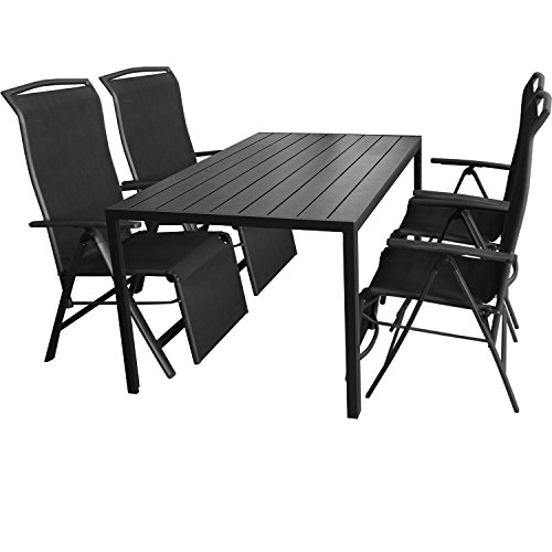 5tlg. Gartengarnitur Aluminium Gartentisch 150x90cm mit Polywood Tischplatte Klappsessel mit 2x1 Textilenbespannung Rücken- und Fußteil um 5 Positionen verstellbar