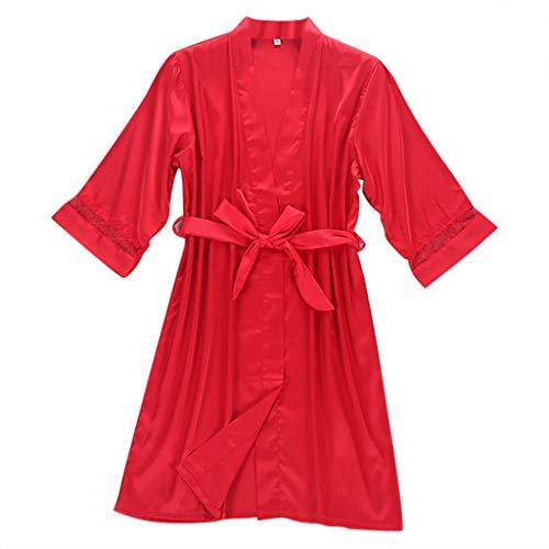 LOPILY Damen Unterwäsche Bademantel Spitze Negligee Lingerie Atmungsaktiver Bequem Nachtwäsche Kleid Morgenmäntel mit Gürtel Sleepwear Pyjama