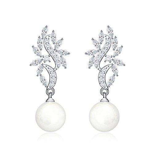 QUKE CZ Tropfen künstliche Perle Braut Piercing Baumeln hängend Ohrringe Silber-Ton für Hochzei