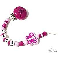 Schnullerkette mit Namen - Kleine Prinzesin - Schmetterling - Mädchen - rosa - pink - B014