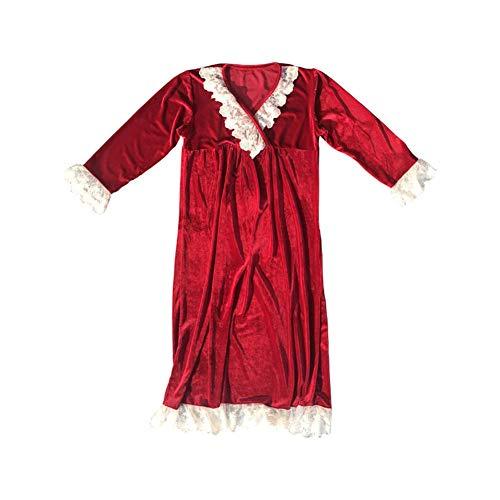 LLRCAZR Pyjamas Pyjamas Frühling Herbst Winter Velvet Retro Gericht Pyjamas Lace Long Korallen Velvet Cute Pyjamas, M Lace Velvet Romper