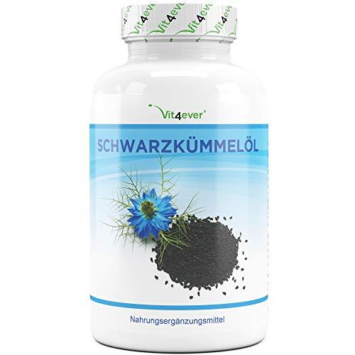 Vit4ever® Schwarzkümmelöl - 420 Kapseln - 1000 mg pro Tagesportion - Laborgeprüft - 7 Monatsvorrat - Kaltgepresst - Naturbelassen - Hochdosiert - natürliches Vitamin E (Vitamin Kaltgepresstes E)