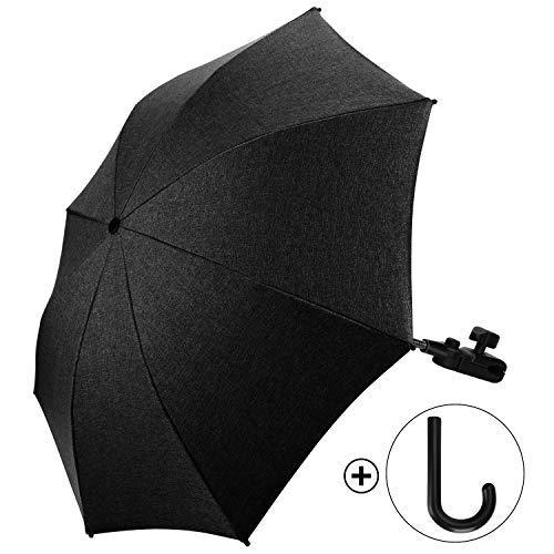 Ombrelle Universelle pour Poussette et Landau Anti UV 50+ Diamètre 73cm avec Une Poignée Parapluie - Noir