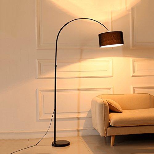 Gewölbte Stehlampenschirm und robuste Basis perfekte Angeln Form Stehlampe Schwarz, Metall und Tuch Art Design, Wohnzimmer Leseleuchten Lightwshfor