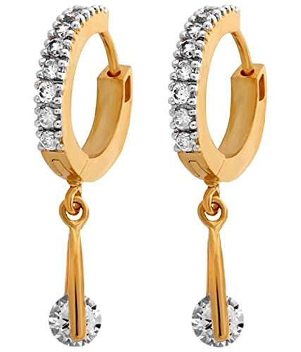 Youbella Fancy Drop Gold Plated Bali Hoop Earrings For Women