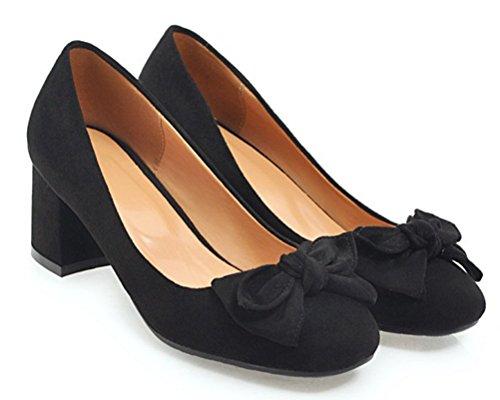 HiTime Women's Comfort Suede 5 cm Mid Heeled Pumps Sweet Bowknot Princess Dress Court Shoes OL Work Shoes Size 2-10 (2, Black)