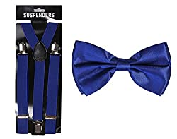 Tiekart cool combos blue plain solids bow tie+suspenders