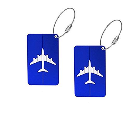Zedtom 2 Stück Kofferanhänger Gepäckanhänger Namensschilder aus Aluminiumlegierung-Blau