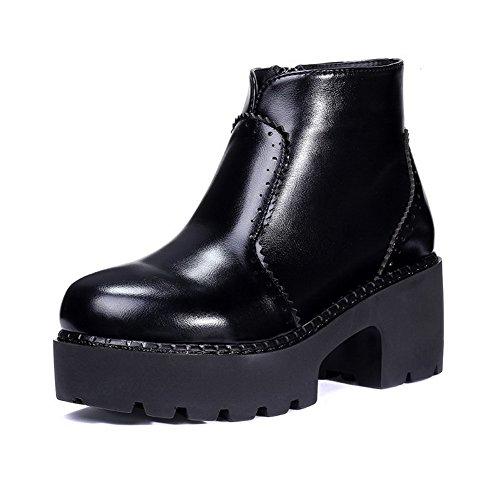 AllhqFashion Damen Weiches Material Reißverschluss Niedrig-Spitze Stiefel mit Metallisch, Schwarz, 39