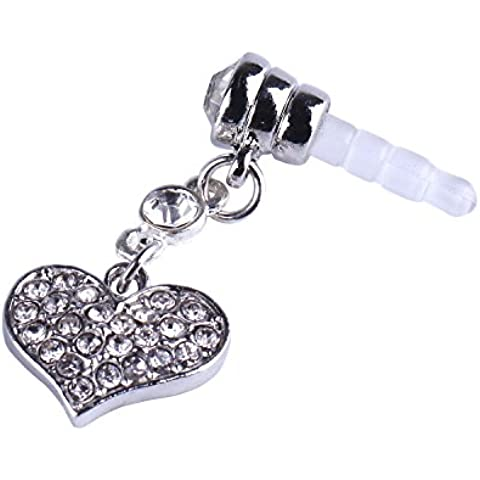 Niceeshop (TM) universale, da 3,5 mm a forma di cuore in cristallo, Dangle Anti-polvere per auricolare, Jack Plug-Tappo per IPhone, IPod, IPad, HTC, Samsung - 3,5 Mm Cuore