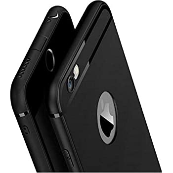 Amozo® Soft Silicone with Anti Dust Plugs Shockproof Slim Back Cover Case  for Apple iPhone 6 / iPhone 6S - Black