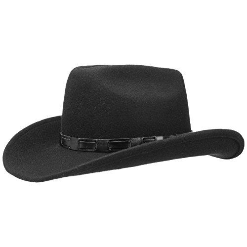 Lipodo Bill Cody Cowboy Westernhut Filzhut Cowboyhut Wollfilzhut Hut Damen/Herren | Made in Italy mit Lederband Frühling-Sommer Herbst-Winter | S (54-55 cm) schwarz (Damen-cowboy-hut)