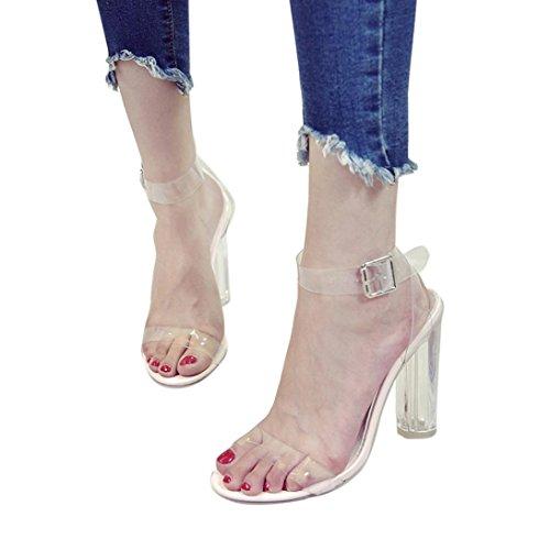 (Btruely Sandalen Damen Sommer Mode Böhmen Sandalen Damen Hochhackigen Sandalen Sommer Strandschuhe Mädchen Beiläufig Übergröße SchuheThick Heel Sandaletten mit Hohen Absätzen (40, Klar))