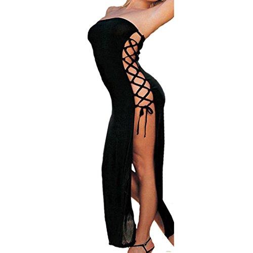 Damen Dessous,PLOT Frauen Sexy erotik Dessous Nachtwäsche Versuchung Nightgown Unterwäsche Dessous Kleid mit V-Ausschnitt und langem Kleid Dressing-Kleid (Schwarz, L)