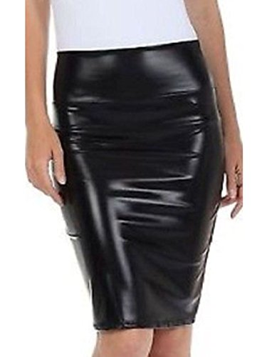 72ed99f46fbea 21fashion Women Ladies Metallic Shiny Pvc Wet Look High Waist Pencil Midi  Skirt Sizeuk8-22 - £6.00