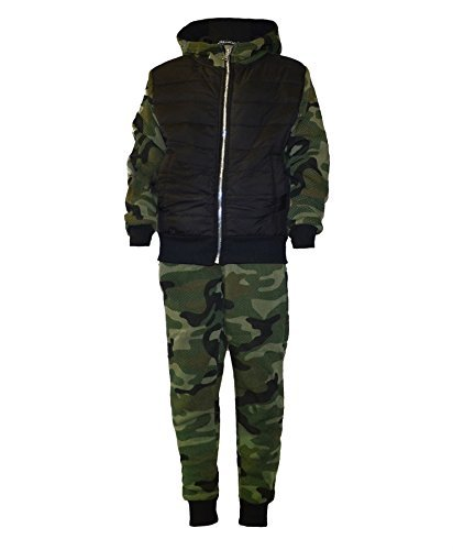 Lotmart Kinder Gesteppt Camouflage Trainingsanzug Armee Militär Joggen Laufen Anzug 2-tlg Set und ZUGABE Lotmart promotion stift pro parcel - Tarnung khaki, 146-152 (Armee Anzüge Für Kinder)