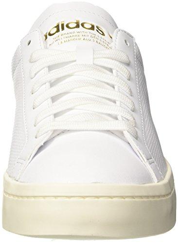 adidas Courtvantage, Scarpe da Ginnastica Basse Uomo, Bianco (Footwear White/Footwear White/Bright Blue), 44 EU