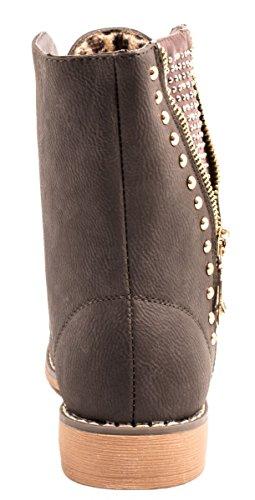 Elara Damen Stiefeletten | Bequeme Biker Boots | Schnürer Lederoptik Grau Queens
