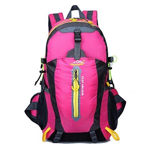 Bovake 40L Wasserdichte Outdoor Trekkingrucksäck Wanderrucksäcke Reiserucksäck Klettern Radfahren Freizeit Rucksack Hot Pink