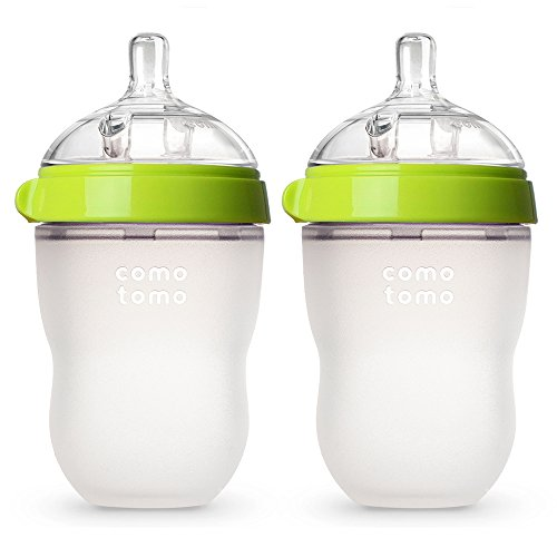 Comotomo Baby Bottle, Green, 8 Ounce, 2 Count by Comotomo