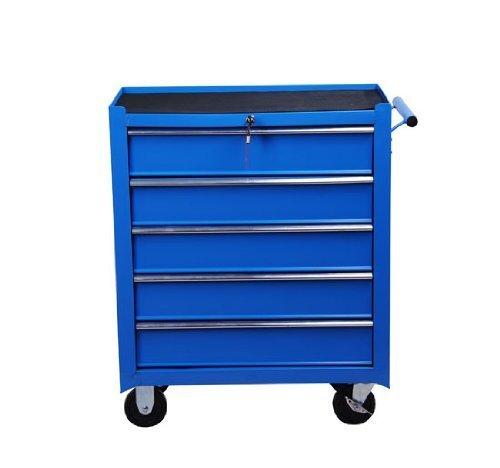 Homcom® Fahrbarer Werkstattwagen Werkzeugwagen Rollwagen Werkzeugkasten mit 5 Schubladen blau - 3