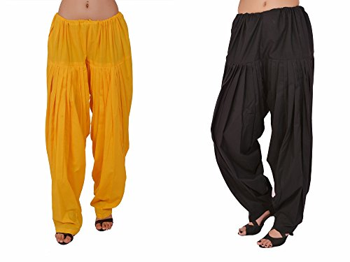 Stylenmart Combo Offers - Pack of Yellow and Black Cotton Patiala Salwar