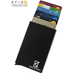 Metal Wallet for Men and Women by DEIN KLEIDER™   Minimalist Front Pocket Design Card Holder with RFID Theft Protection   Carry the Next Generation Smart Wallet   FREE! Money Strap with 100% Genuine Leather Grip   Black - Aluminium