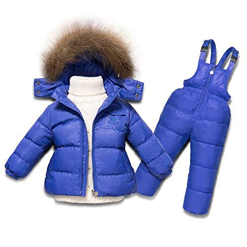 Gimitunus Soft Girl's Skianzüge, Kinder 2 in 1 Winddicht wasserdicht Dicke Fleece warme Kapuze Schneeanzug Ski Down Jacke (Nicht weiße Pullover) (Farbe : Blau, Größe : 90cm)   06462871731034