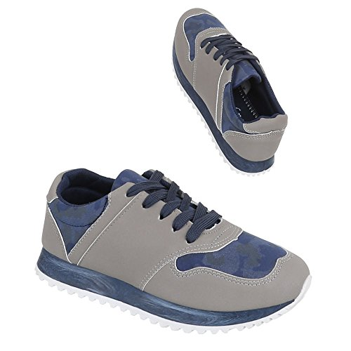 Damen Schuhe, 207-1, FREIZEITSCHUHE SCHNÜRER SNEAKERS Blau Grau
