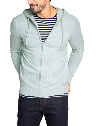 edc by ESPRIT Herren Slim Fit Strickjacke meliert, Gr. Small, Grün (AQUA GREEN 380)