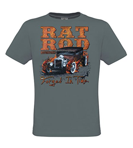 DarkArt-Designs Rat Rod - Hot Rod T-Shirt für Herren - Hot Rodmotiv Shirt Streetwear Lifestyle regular fit Dark Grey