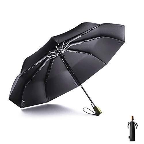 Meiyijia ombrello - ombrello compatto, telaio rinforzato antivento, auto apri e chiudi ombrello da viaggio pieghevole con 10 ribs rinforzati stile - 2 ombrello tasca ombrello grande - nero