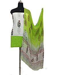Gleamberry Women's Multicolour (White and Green) Block Print Cotton Dress Material Set