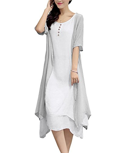 GIKING Damen Lose 2 Stücke Leinen Baumwolle Doppelschicht Unregelmäßig Knielang Boho Maxi Kleid Grau XL