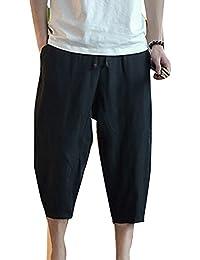 Liangzhu Pantalones Harem Pantalon Jogger Hombre Baggy Casual Pantalones De Lino Tamaño Grande