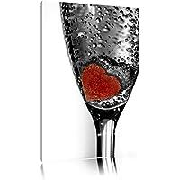 piccolo cuore in un bicchiere di champagneTela, Immagini XXL completamente incorniciata con grandi cornici di cuneo, stampe d'arte sulla foto parete con cornice, più economico di pittura o di un dipinto a olio, non un manifesto o bandiera