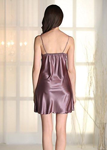 Aivtalk Femme Ensemble de Pyjama 2Pcs Luxe Robe de Chambre à Bretelle Dentelle Col-V Peignoir Satin Longue Manche avec Ceinture (Taille FR: 34-40) - 4 Couleurs Violet
