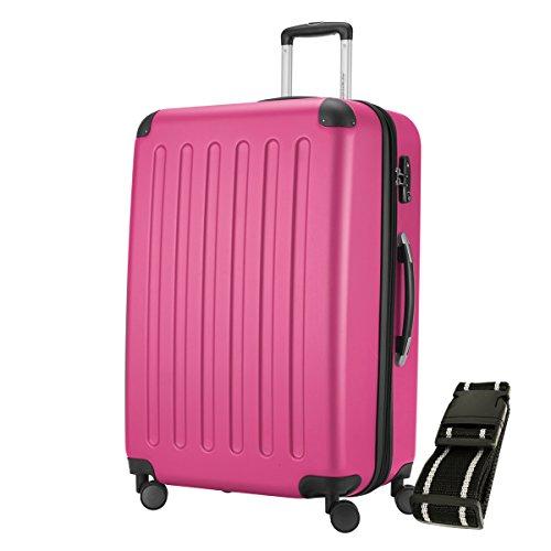 HAUPTSTADTKOFFER® Hartschalen Koffer SPREE 1203 · 128 Liter · MATT · TSA Zahlenschloss · + GEPÄCKGURT (Magenta)