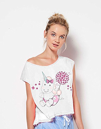 Damen T-Shirt Ladies Lax Shirt Crop Tank Top weiß Unicorn Einhorn cutie Pusteblume Weiß