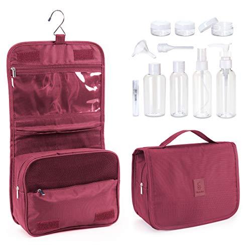 Beauty Case Viaggio da appendere per prodotti cosmetici e make-up per uomini e donne + 1L Beauty Case Trasparente per viaggi in aereo (8 bottiglie da viaggio) + Gancio p. porta |Rosso