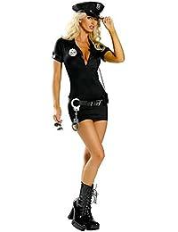 Aimerfeel sexy ladies la police noire uniforme robe fantaisie avec PU chapeau, taille 34,36,38,40,42,44