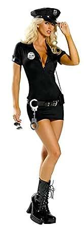 Aimerfeel sexy ladies black police uniform fancy dress with PU hat, size 6-8
