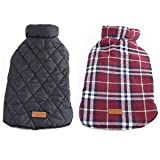 #2: CoolPaw Waterproof Reversible Designer Warm Plaid Winter Elastic Jacket for Dogs - XS, Red