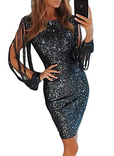 Aleumdr Mujer Vestido de Lentejuelas Vestid de Noche Falda Corta para Fiesta Negro Size M