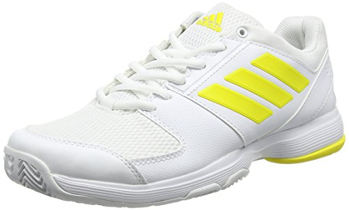 adidas Damen Barricade Court Tennisschuhe, Gelb (Footwear White/Bright Yellow/Footwear White), 43 1/3 EU