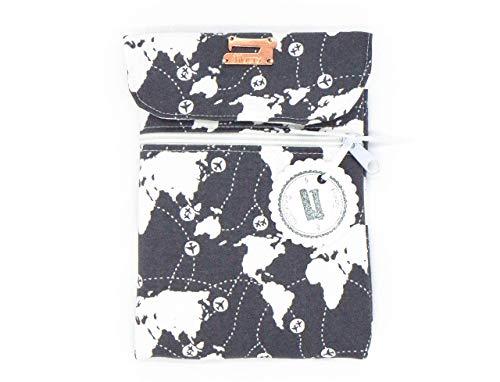 Gepolsterte eBook Reader Hülle mit Magnetverschluss und Reißverschlussfach, eBook Reader Sleeve, Weltkarte mit Flugzeugen