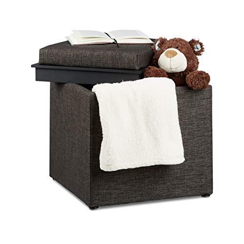 Relaxdays Sitzhocker mit Stauraum, HxBxT: 42 x 40,5 x 40,5 cm, Aufbewahrungsbox, Leinen Optik, Stoff, braun