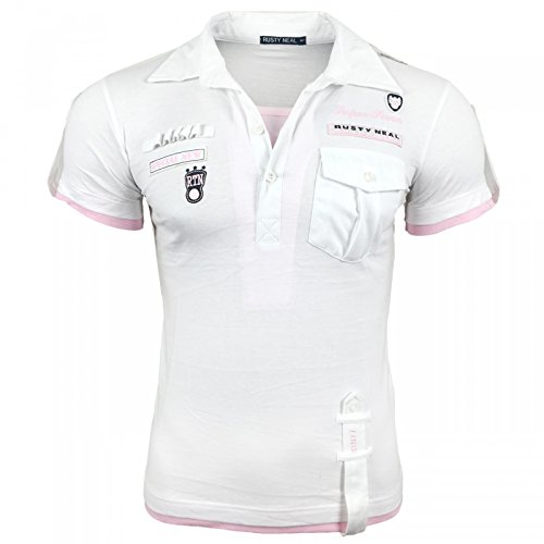 Herren T-Shirt Mix Motive Strass Steine Style Rundhals Kurzarm S M L XL XXL NEU 301 Weiß/Pink